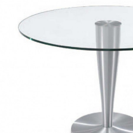 table repas ronde detroit verre aluminium brossé 1