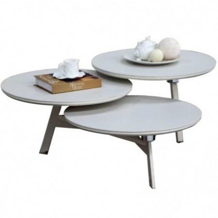 table basse 3 plateaux céramique beige disko
