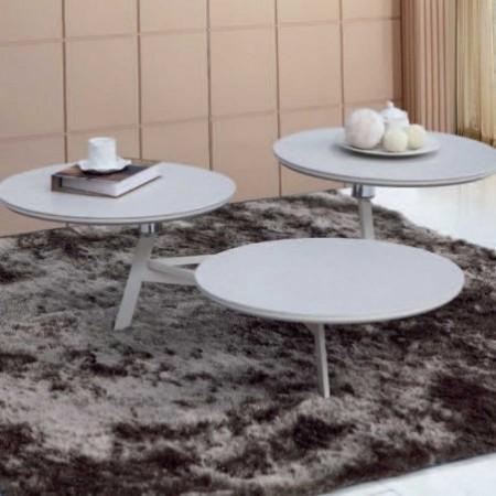 table basse 3 plateaux céramique beige disko 1