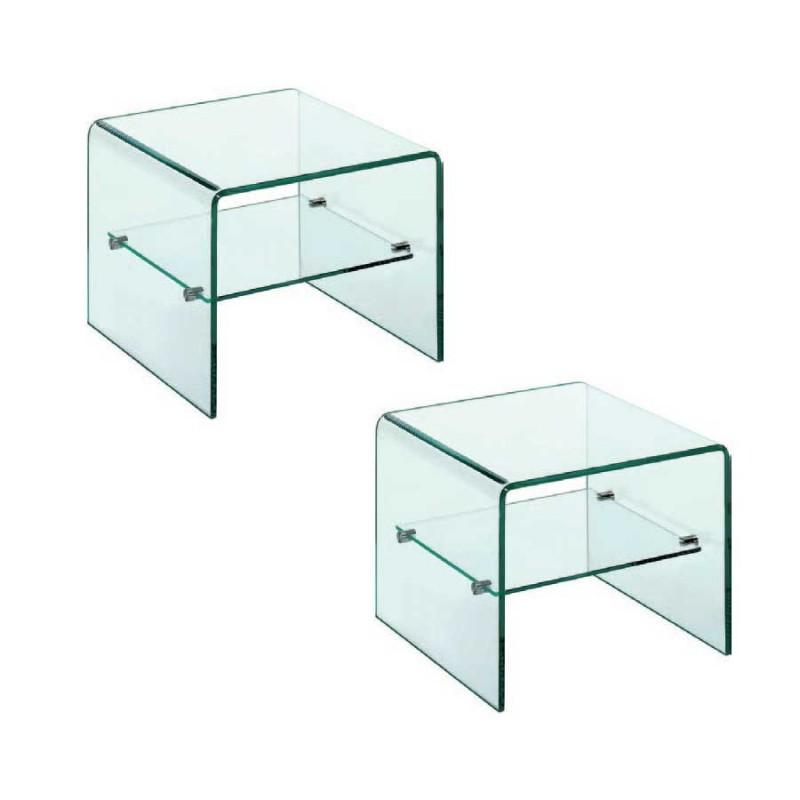 coin canapé eco verre 1 étagère x2