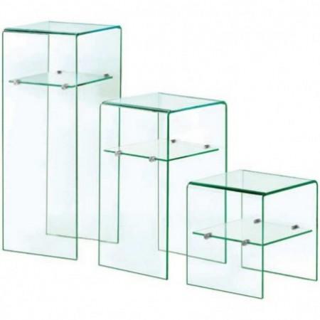 set 3 colonnes verre 1 étagère eco
