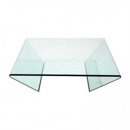 table basse edge verre courbé