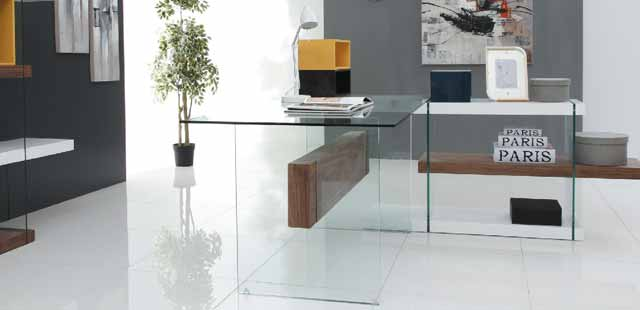 bureau verre et bois